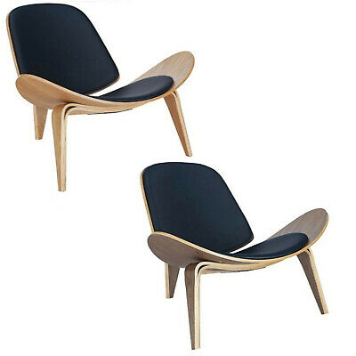 Wegner Shell Style Lounge Chair CH07 Walnut Or Natural W/ Black Pads Mid-Century
