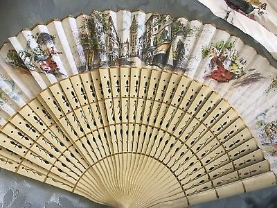 Original Antique Spanish Pierced Wood Fan Hand Painted Bullfighting Hand
