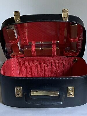 Black 1960s Vintage Vinyl Travel Overnight Train Case & Vanity Set Red Lining
