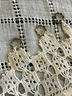 Beautiful Antique C1900 Lace Curtain Panel Brass Rings Props Project 51/68cms