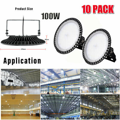 10X Ultra-Thin 100W UFO LED High Bay Light Commercial Industrial Lamps Day White