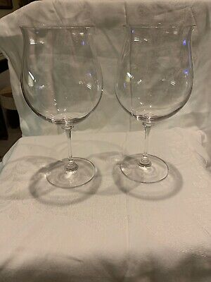 """2 BEAUTIFUL Large Clear Crystal Water Wine Goblets Glasses 9"""" Tall"""
