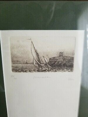 Etching Framed  Sail Boat ~ Signed UNKNOWN 34/75 Limited edition