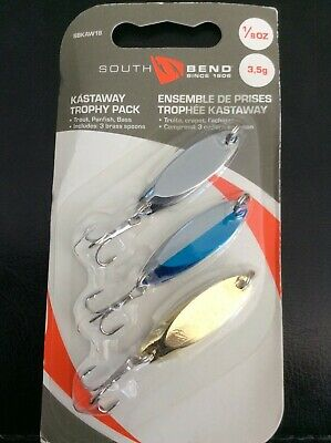 South Bend 1//4 Oz 7.1 G Kastaway Trophy Pack Trout Panfish Bass 3 Pack Brand New