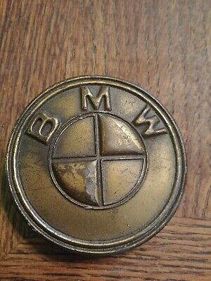 "Vintage 1970s 2.75"" Round Brass Belt Buckle BMW Car Motorcycle Logo"