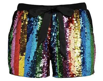 BNWT PETER ALEXANDER LADIES RAINBOW SEQUIN TUXEDO SHORT, SIZE:XS, RRP: AU$99.95t
