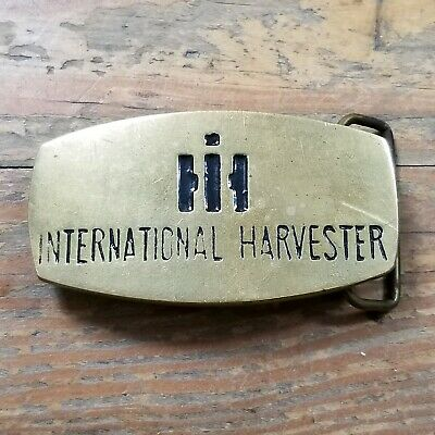 Vintage IH International Harvester Solid Brass Belt Buckle Mens Womens