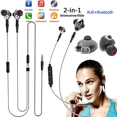 2 IN 1 Wireless Bluetooth Headset Headphone Wired Earbud for IOS iphone Samsung