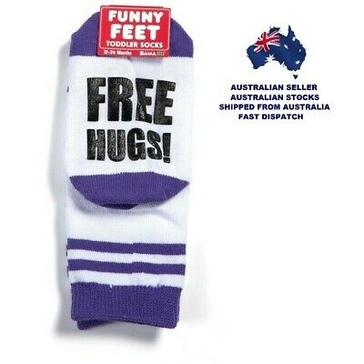 Toddlers Socks - FREE HUGS - FUNNY FEET by GamaGo - Ages 12 - 24 Months - New