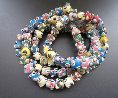 100PCS Ancient Chinese Peking Glass Necklaces Coloured Carved beads pendant