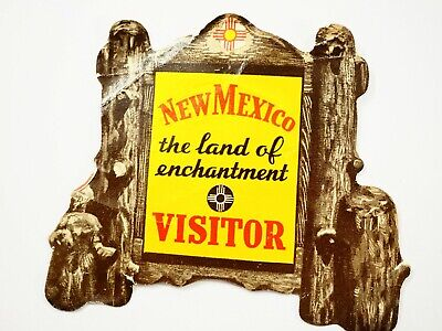 Vintage New Mexico Land of Enchantment Visitor Luggage Window Label