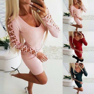 Women Sexy Long Sleeve Hollow Bodycon Dress Evening Party Bandage Mini Dress