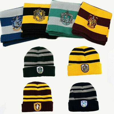Harry Potter Scarf  Cap Hat Glasses Gryffindor Hufflepuff Cosplay Costume HK