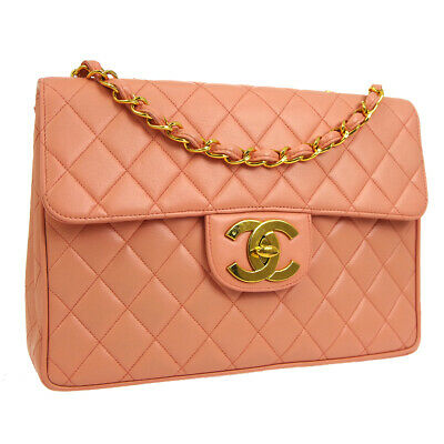 8ec2677ce7f3 Auth CHANEL Quilted Jumbo Double Chain Shoulder Bag Salmon Pink Leather  A38325