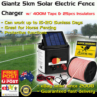 Giantz 5km Solar Electric Fence Energiser Charger with 400M Tape and 25pcs Insul
