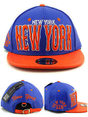premium selection 1d9d4 be186 New York New E-Flag Leader Leather Croc Knicks Blue Orange Era Strapback Hat  Cap