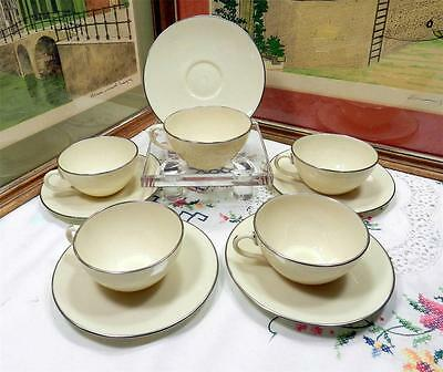 "5 Lenox Usa Olympia Platinum Coupe Shape 2"" Cup & Saucer Sets 1952-1982"