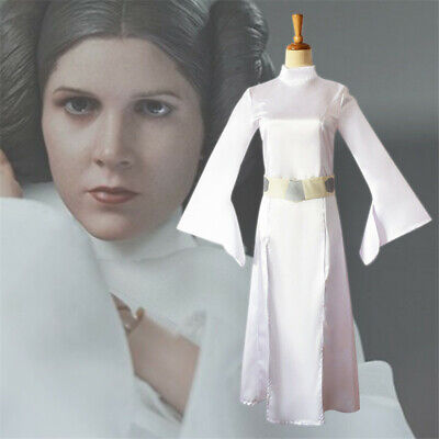 Star Wars Princess Leia Cosplay Costume White Dress Halloween