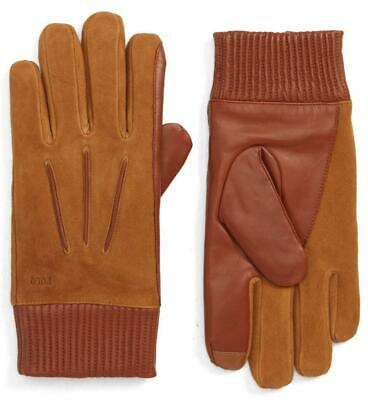 New with Tag - $135 Polo Ralph Lauren Snuff Nappa Leather & Suede Gloves Men L