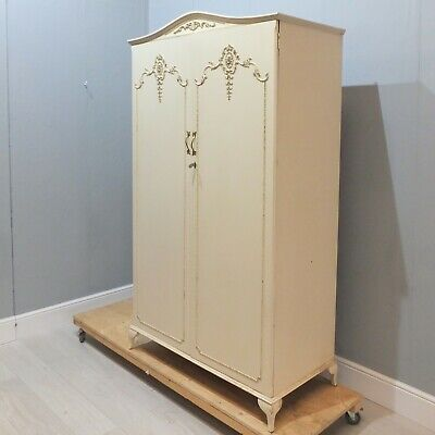 Vintage French Antique Louis XV Style Double Wardrobe - Cream - Shelves (218)