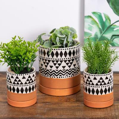 Set Of Three Boho Pot Planters Flowers Plants Holder Storage Garden Gift Home