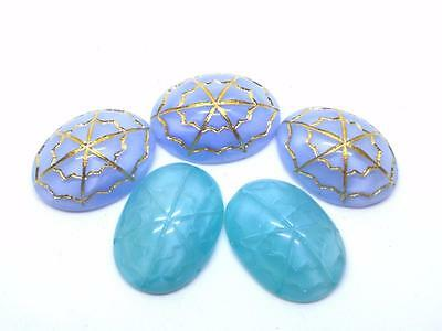 Vintage Glass Cabochons ~ Moonglow Oval Cabs Incised Design for Unique Jewelry