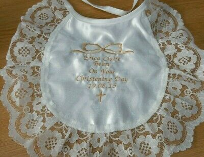 personalized on your christening day ivory/ gold frilly lace satin bib