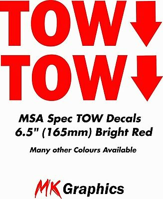 MSA Spec TOW Stickers Bright Red Race Rally Trackday Tuning JDM