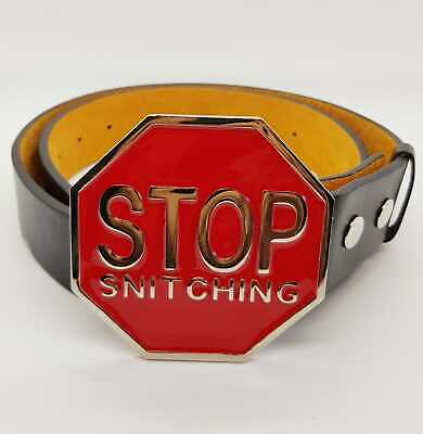 Stop Snitching Belt Buckle Biker Stop Sign Novelty feeanddave