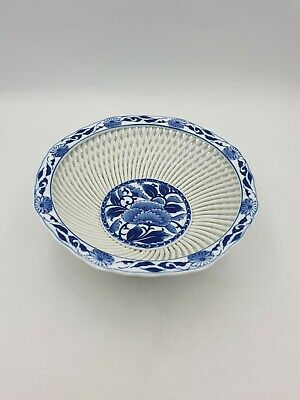 Vtg Japanese Hasami Ware Lattice Woven Porcelain Footed Bowl Blue White Floral