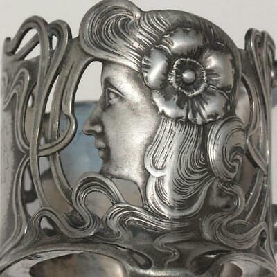 Antique Art Nouveau German Wmf Silver Plated Pewter Tea Glass Cup Holder Maiden