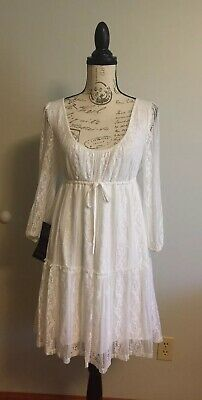 BEBE Lace Dress White Scoop Neck Stretchy Size M Medium NEW WITH TAG!