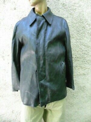 Veste De Feu En Cuir Sapeur-Pompier / Obsolete / Old Fireman Leather Jacket
