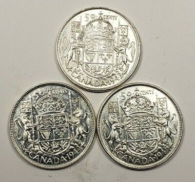 1943 1944 1945 Canada Silver 50 Fifty Cents 3 Different Coin Lot