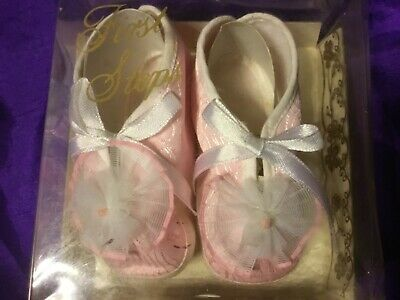 infant baby shoes by first steps pink florel very elegent size 1 little beauties