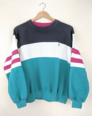 Vintage 90s Knights Of Round Table Sweater Color Block, Men's Size L Teal Pink
