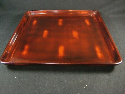 Antique Japanese 130 Year Old Wood & Neguro Lacquer Obon Ozen Tray
