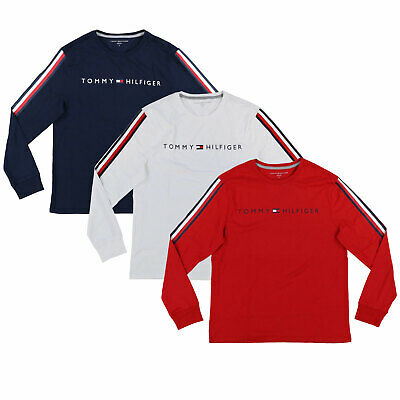 Tommy Hilfiger Mens T-shirt Crew Neck Signature Stripe Long Sleeve Flag New Nwt