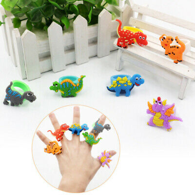 10PCS Cute Cartoon Dinosaur Finger Rings Soft PVC Party Rings Kids Toys Gift Hot