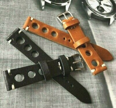 18 20 22mm Italian Genuine Leather Racing Rally Big Holes Watch Strap H/Made