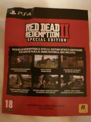 DLC Red Dead Redemption 2 Ps4 Special Edition Europe NO GAME INCLUDED