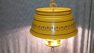 "Vintage Tole Chandelier Three Candle Yellow Mustard 15""L X14""W Progress Lighting"