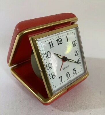 Equinity Travel Alarm Clock Vintage 1970s Red Plastic Case Working Time Piece