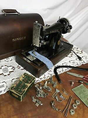 SERVICED Heavy Duty Vtg Singer Sewing Machine 99-13 Denim Leather, Bentwood Case