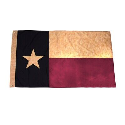 3x5 Ft Tea Stained Texas Star State Flag Embroidered 3 x 5 Sewn 3'x5' TX Flags