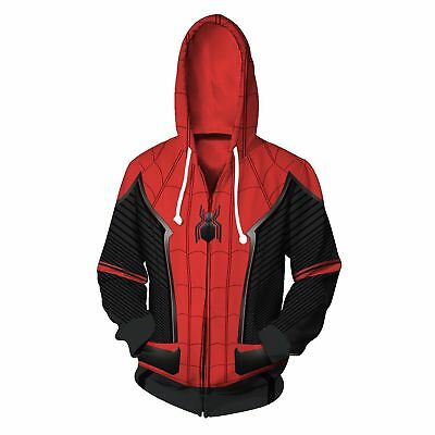 2019 Spider-Man: Far From Home Hoodies Coat Cosplay Costume Sweatshirt Jacket US
