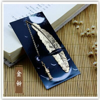 1pc Cute Retro Metal Feather Bookmark Creative Book Mark Stationery Gift