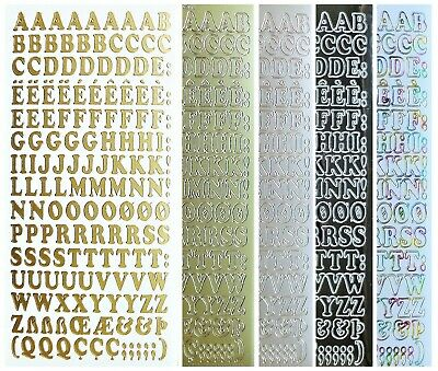 ALPHABET - UPPER CASE Peel Off Stickers 10mm Letters Card Making Scrapbooking