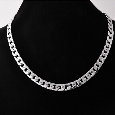"""316L Men Necklace  Stainless Steel Heavy Link Silver Curb Cuban Chain  23""""-39"""""""