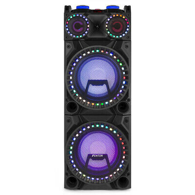 "Dual 10"" Bluetooth Karaoke Party Speakers with Disco Lights MP3 Music System"